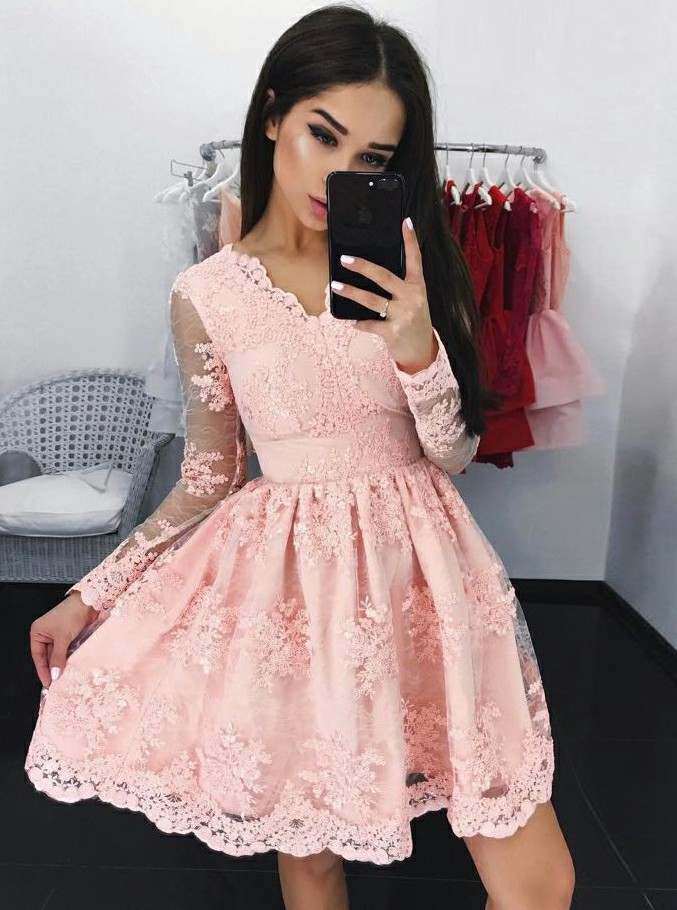a133e10097a Homecoming Dresses, Homecoming Dresses 2018, Long Sleeve Homecoming  Dresses, Applique Homecoming Dresses, Lace Homecoming Dresses, Short Prom  Dresses, ...