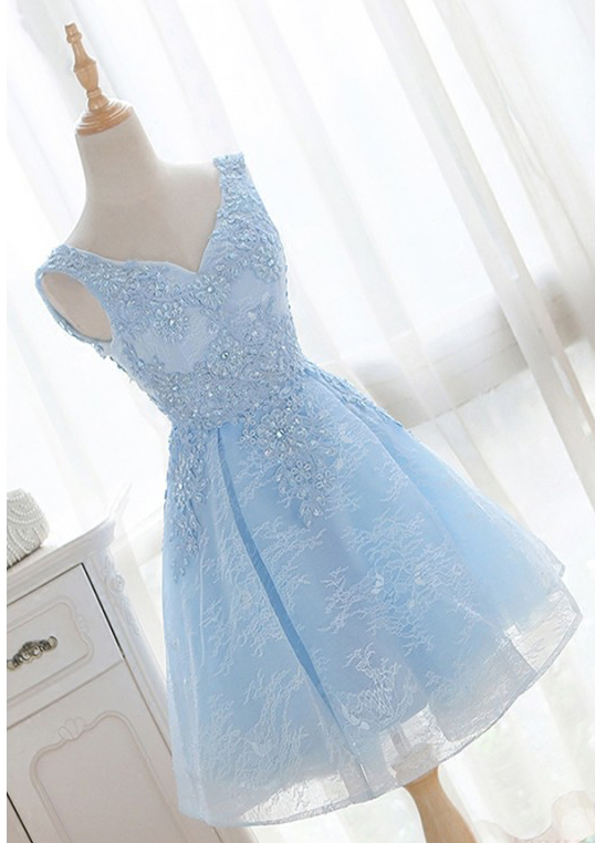 Homecoming Dresses, V-neck Homecoming Dresses, Beading Homecoming Dresses, Sleeveless Homecoming Dresses, Short Blue Homecoming Dresses, Short Prom Dresses, Short Party Dresses, Prom Dresses, Cocktail Dress