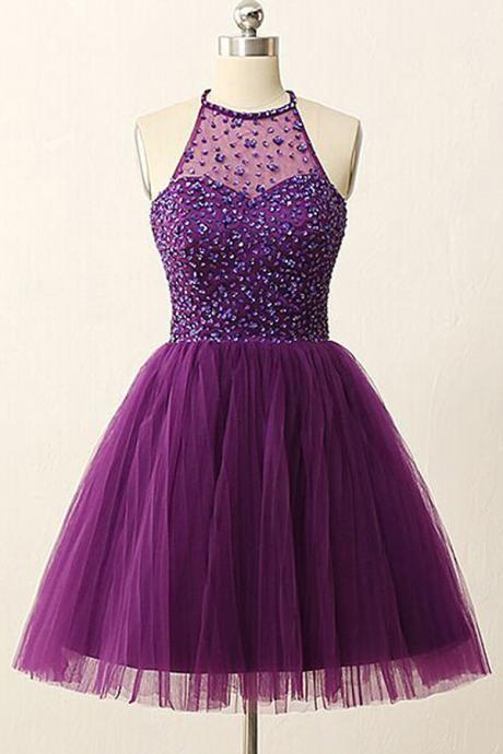 Homecoming Dresses, Homecoming Dresses 2018, Beading Homecoming Dresses, Tulle Homecoming Dresses, Purple Homecoming Dresses, Short Prom Dresses, Short Party Dresses, Prom Dresses, Cocktail Dresses