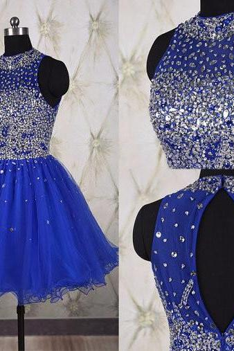 Homecoming Dresses, Homecoming Dresses 2018, Beading Homecoming Dresses, Tulle Homecoming Dresses, Sapphire Blue Short Homecoming Dresses, Short Prom Dresses, Short Party Dresses, Prom Dresses, Cocktail Dresses