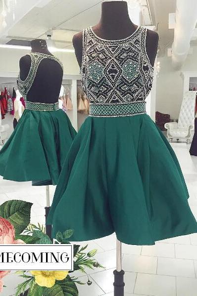 Homecoming Dresses, Homecoming Dresses 2018, Beading Homecoming Dresses, Backless Homecoming Dresses, Short Homecoming Dresses, Short Prom Dresses, Short Party Dresses, Prom Dresses, Cocktail Dresses