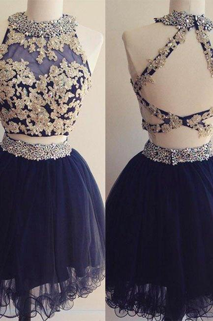 Homecoming Dresses, Homecoming Dresses 2018, Beading Homecoming Dresses, Two Pieces Homecoming Dresses, Tulle Homecoming Dresses, Short Prom Dresses, Short Party Dresses, Prom Dresses, Cocktail Dresses