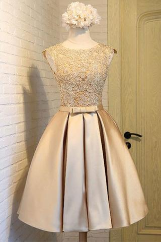 Homecoming Dresses, Homecoming Dresses 2018, Round Neck Homecoming Dresses, Applique Homecoming Dresses, Short Homecoming Dresses, Short Prom Dresses, Short Party Dresses, Prom Dresses, Cocktail Dress