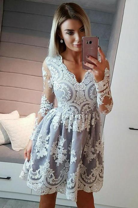 Homecoming Dresses, V-neck Homecoming Dresses 2018, Long Sleeve Homecoming Dresses, Applique Homecoming Dresses, Short Homecoming Dresses, Short Prom Dresses, Short Party Dresses, Prom Dresses, Cocktail Dress