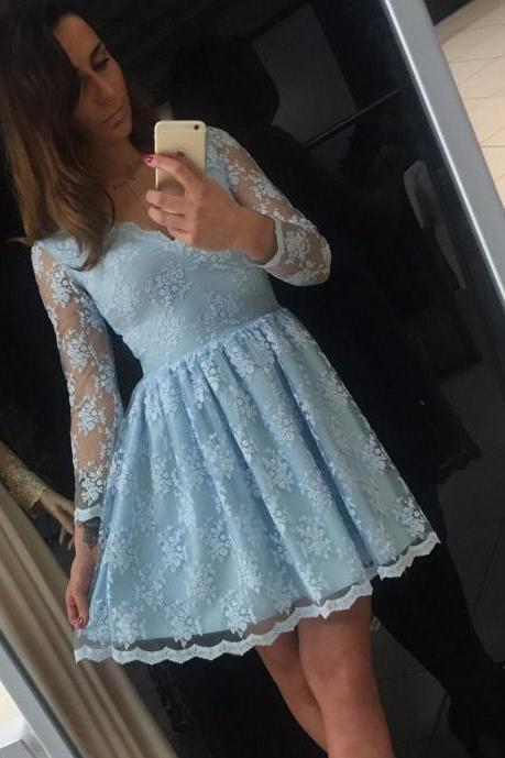 Homecoming Dresses, Lace Homecoming Dresses 2018, Long Sleeve Homecoming Dresses, Blue Homecoming Dresses, Short Homecoming Dresses, Short Prom Dresses, Short Party Dresses, Prom Dresses, Cocktail Dress