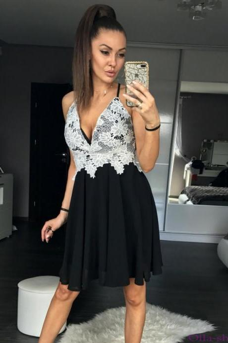 Homecoming Dresses, Applique Homecoming Dresses, V-neck Homecoming Dresses, Spaghetti Strap Homecoming Dresses, Sexy Homecoming Dresses, Short Prom Dresses, Short Party Dresses, Prom Dresses, Cocktail Dress