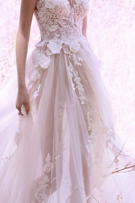 Wedding Dresses, Wedding Dresses 2018, V-Neck Wedding Dresses, Applique Wedding Dresses, Custom Made Wedding Dresses, Sleeveless Wedding Gowns, Bridal Dresses, Bridal Gowns
