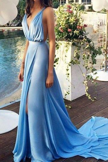Prom Dresses, Spaghetti Strap Prom Dresses, Sexy Prom Dresses, V-neck Prom Dresses, Blue Long Prom Dresses, Mermaid Party Dresses, Long Evening Dresses,Party Dresses