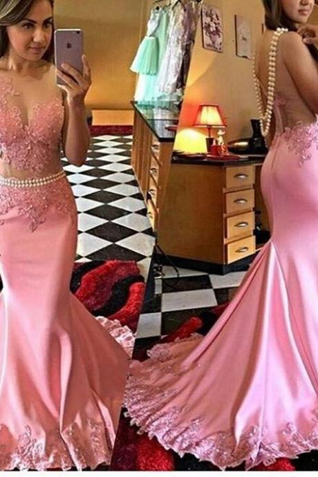 Prom Dresses, One Shoulder Prom Dresses, Applique Prom Dresses, Sleeveless Prom Dresses, Beading Prom Gowns, Mermaid Party Dresses, Long Evening Dresses,Party Dresses