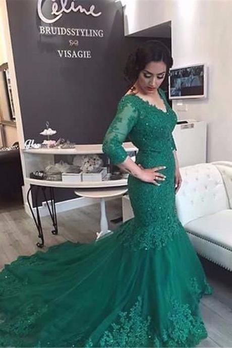 Prom Dresses, Round Neck Prom Dresses, Applique Prom Dresses, Long Sleeves Prom Dresses, Mermaid Prom Dress, Sexy Party Dresses, Long Evening Dresses,Party Dresses