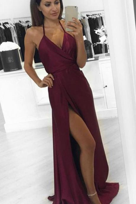 Prom Dresses, Spaghetti Strap Prom Dresses, Sexy V-neck Prom Dresses, Satin Prom Dresses, Split Prom Dresses, Elegant Party Dresses, Long Evening Dresses,Party Dresses