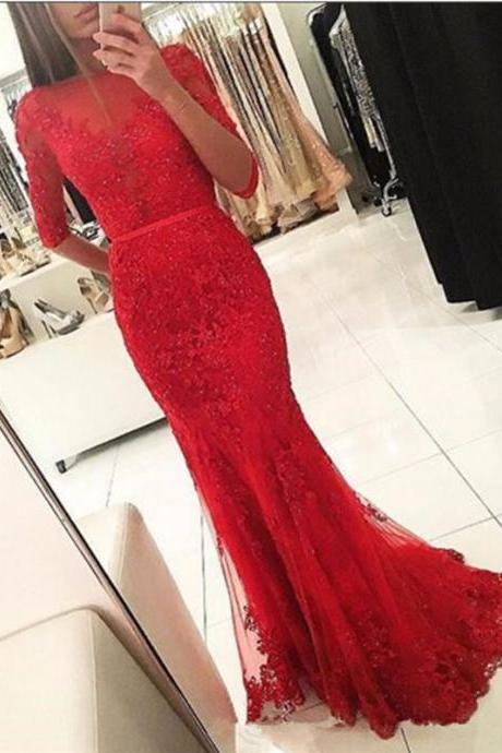 Prom Dresses, Round Neck Prom Dresses, Applique Prom Dresses, Long Sleeves Prom Dress, Lace Prom Dresses, Mermaid Party Dresses, Long Evening Dresses,Party Dresses