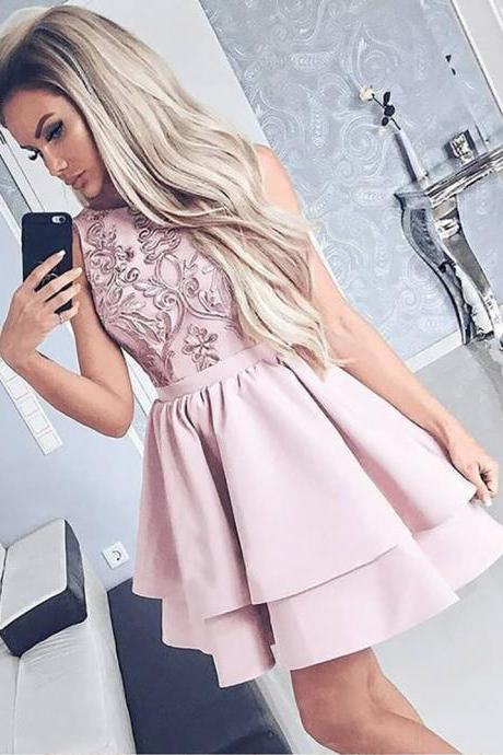 Homecoming Dresses, Round Neck Homecoming Dresses 2018, Applique Homecoming Dresses, Beading Homecoming Dresses, Short Homecoming Dresses, Short Prom Dresses, Short Party Dresses, Prom Dresses, Cocktail Dress