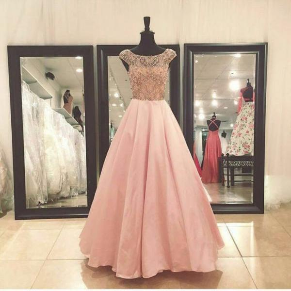 Prom Dresses, Round Neck Prom Dresses, Floor Length Prom Dresses, Beading Prom Dresses, A-line Prom Gowns, Satin Party Dresses, Long Evening Dresses,Party Dresses