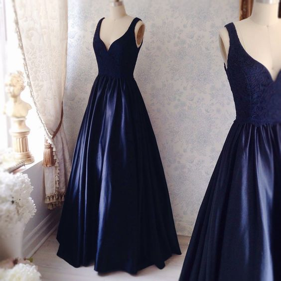 Prom Dresses, V-Neck Prom Dresses, Satin Prom Dresses, Long Prom Dresses, A-Line Prom Dresses, Elegant Party Dresses, Long Evening Dresses, Party Dresses